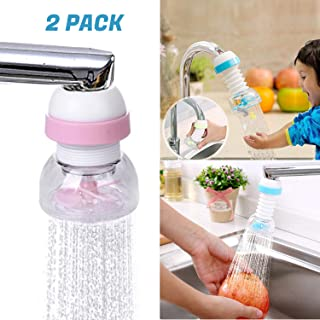 ClipGrip Faucet Sprayer for Kitchen Water Saver 360 Rotate Swivel Prevent Splash Head Attachment Tap Extender Adjustable Aerator   2 Pack (Blue & Pink)