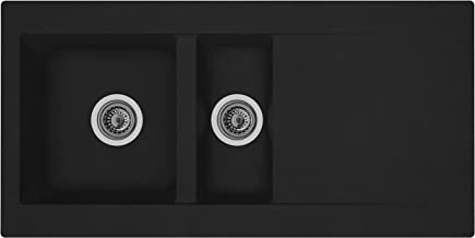 respekta Mineralite inbouwspoelbak 1,5 wastafel zwart 100 cm type / model: DENVER100X50S