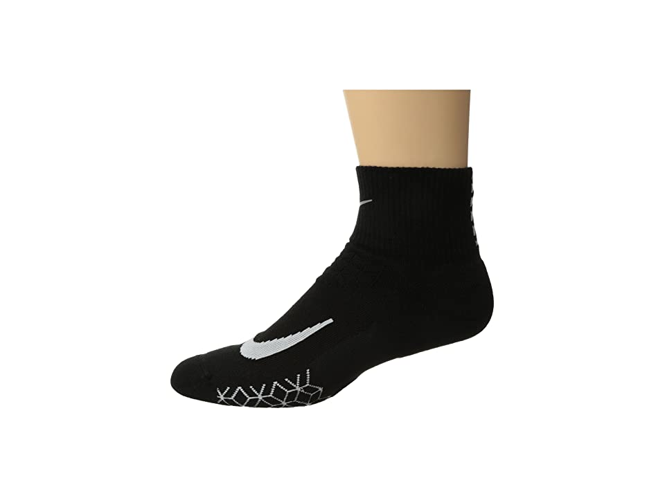 Nike Elite Cushion Quarter Running Socks (Black/White) Quarter Length Socks Shoes