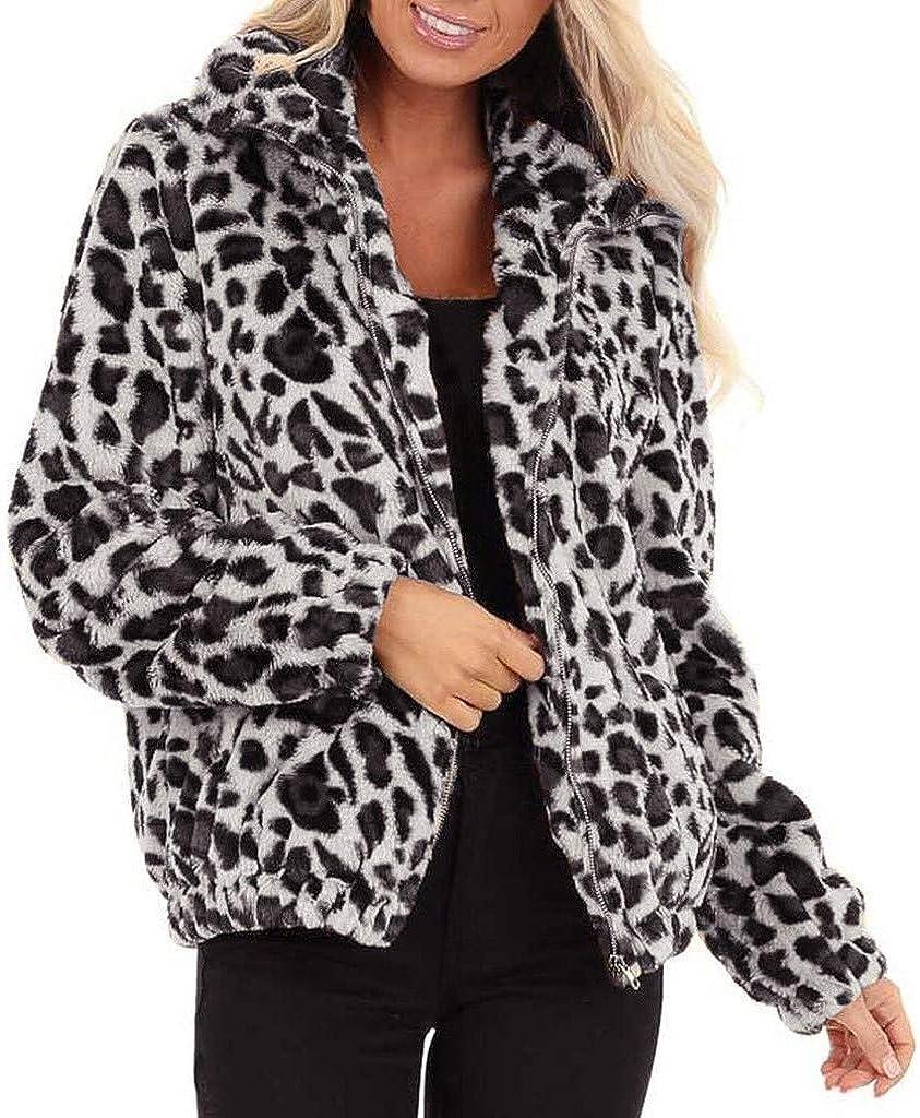 Women Winter Coat,Leopard Faux Fur Coat Fuzzy Zipper Warm Oversized Outwear Jackets,Classic Parka Outwear