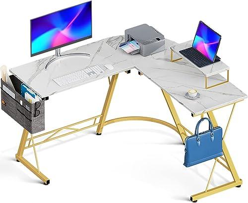 "lowest Casaottima online sale L Shaped Desk, 51"" Gaming Desk, Computer Desk, L wholesale Desk, Home Office Desk with Iron Hook, Movable Monitor Stand Workstation, White Marble outlet online sale"