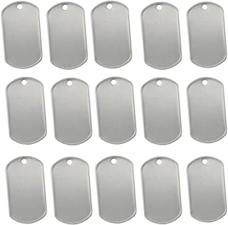TinaWood 100PCS Blank Military Style Dog Tags for Stamping/Engraving Shiny Stainless Steel Military spec Rolled Edge Backi...