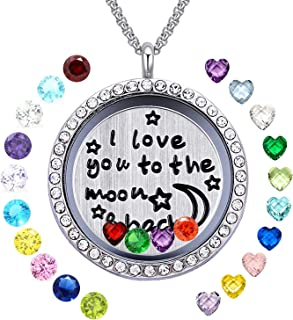 YOUFENG Floating Living Memory Locket Pendant Necklace Family Tree of Life Birthstone Necklaces