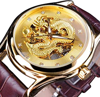 Men's Dragon Collection Forsining Limited Luxury Carved Dial Golden Mechanical Waterproof Wrist Watch