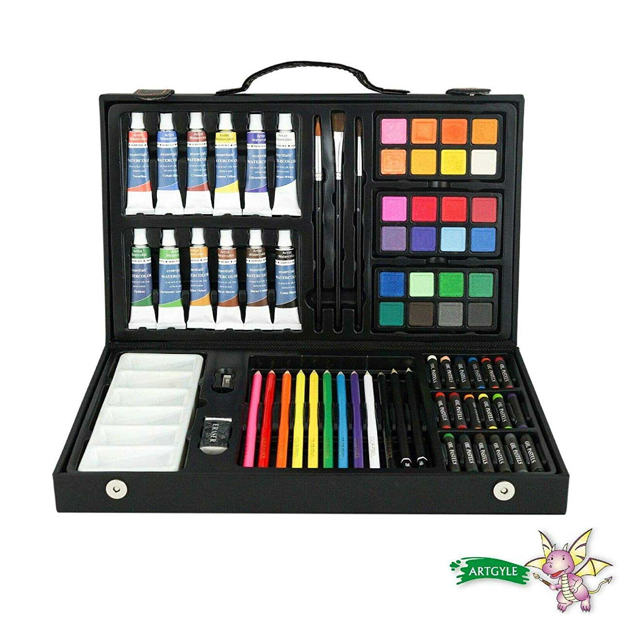 ARTGYLE 73 Piece Deluxe Mixed Media Art Set in PU Box, with Watercolor Cakes, Oil Pastels, Colored Pencils, Watercolor Paint Tubes, Sketching Pencils and Tools