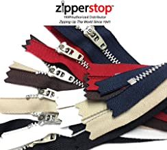 Zipperstop Wholesale - 6pcs YKK 7 Inches Pant Zippers Aluminum - Black, White, Beige, Brown, red & Navy