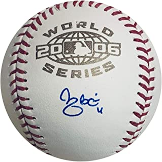 Yadier Molina St Louis Cardinals Autographed 2006 World Series Signed Baseball JSA COA With UV Display Case