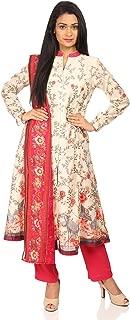 Women's Cream Polyster Salwar Kameez Dupatta