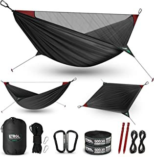 ETROL Camping Hammock - Upgraded 2 in 1 Hammock with Mosquito Net - 2 Tree Straps, Hold Up to 485lbs - Lightweight Portabl...