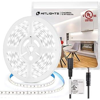 HitLights Cool White LED Strip Lights, UL-Listed Premium High Density 16.4ft, 600LED, 5000K, 48W, CRI 91.5, 12V DC LED Tape Lights for Kitchen, Under Cabinet Decoration
