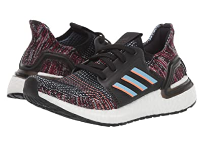 adidas Kids UltraBoost 19 (Big Kid) (Black/Glow Blue/Hi-Res Coral) Boys Shoes