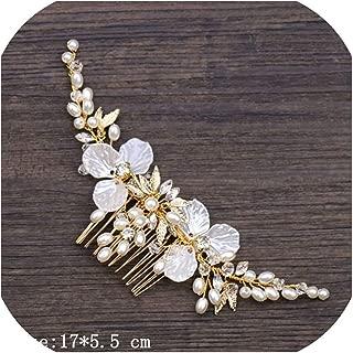 Bridal Hair Accessories Tiara Wedding Hair Comb Clip Flower Women Wedding Hair Jewelry Headband Pearl Rhinestone Bride Headpiece,Golden8