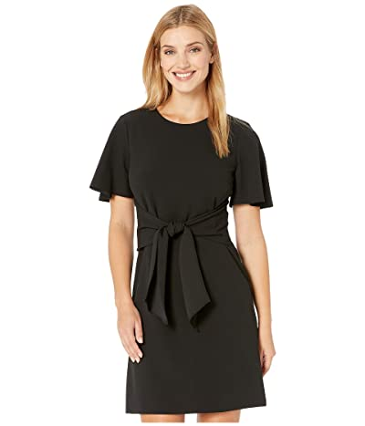 Donna Morgan Tie Front Crepe Dress (Black) Women