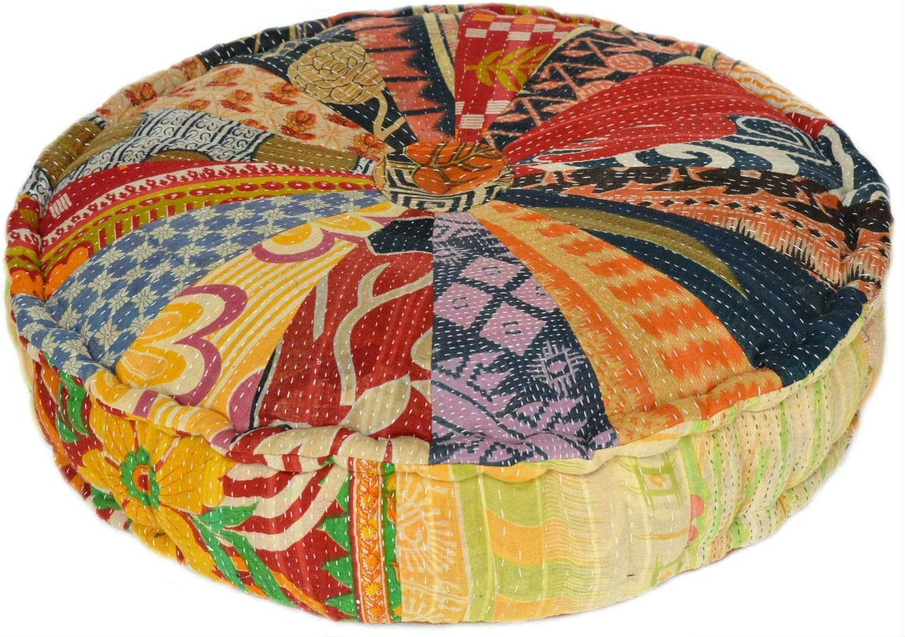 RANGILA Stuffed Indian National products Vintage Kantha Floor Pizza Cushion; Patch Ranking TOP15