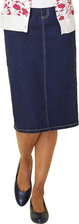 Women's Classic Denim Skirt Knee Length Five Pockets Zip Front Dark Denim 20 Misses
