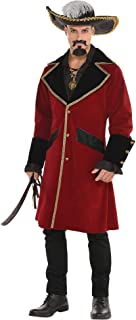 amscan Pirate Captain Jacket Halloween Costume for Men, One Size