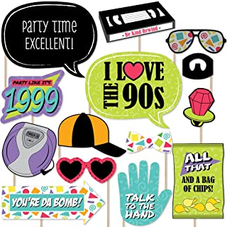 Big Dot of Happiness 90's Throwback - 1990's Party Photo Booth Props Kit - 20 Count