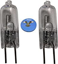 HQRP 2-Pack 22.8V 50W Halogen Bulb G6.35 BiPin Base Lamp for Hanaulux 018566 Assistant Universal + HQRP Coaster