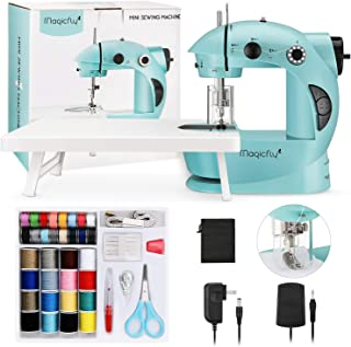 Magicfly Mini Sewing Machine with Extension Table, Dual Speed Portable Sewing Machine for Beginner with Light, Sewing Kit ...