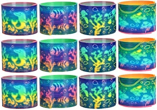 Kicko Aquatic Plastic Coil Spring - Set of 12 - 3 Inch Assorted Animal Prints Spring for Easter Basket Treats, Toy Collect...