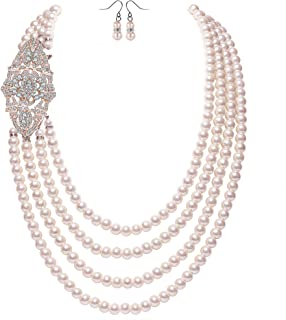 Coucoland Audrey Hepburn Inspired Pearl Necklace Inspired by Breakfast at Tiffany's 1920s Gatsby Imitation Pearls Necklace with Crystal Brooch Bridal Pearl Jewelry Sets