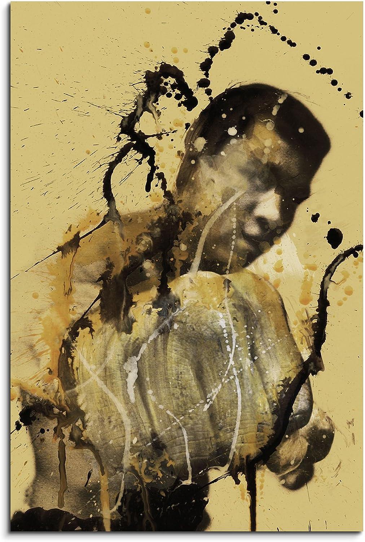 Muhammad Ali 90x60cm Kunstbild auf Leinwand fertig zum zum zum aufhängen , Wandbild als Aqurell Art nach Gemälde von Paul Sinus B01A75K0F2 23eacf
