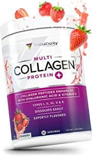 Multi Collagen Peptides Plus Hyaluronic Acid and Vitamin C, Hydrolyzed Collagen Protein, Types I, II, III, V and X Collage...