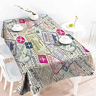 GOMAE Creative Rectangle Tablecloth Traveller Decor Passport Visa Stamps Illustration Toronto Hong Kong Berlin Print Egg Shell and Pink Buffet,Parties,Holiday Dinner,Picnic 70x84
