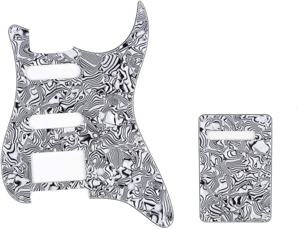 Musiclily HSS Set de Pickguard Golpeador y Placa Trasera Strat para Fender American/México Standard Stratocaster Estilo Moderno, 4 capas Black White Shell