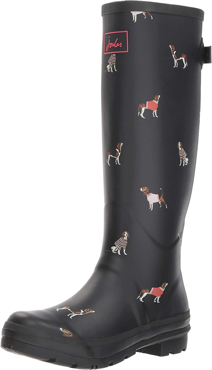 Joules Welly Print Womens Boots Black