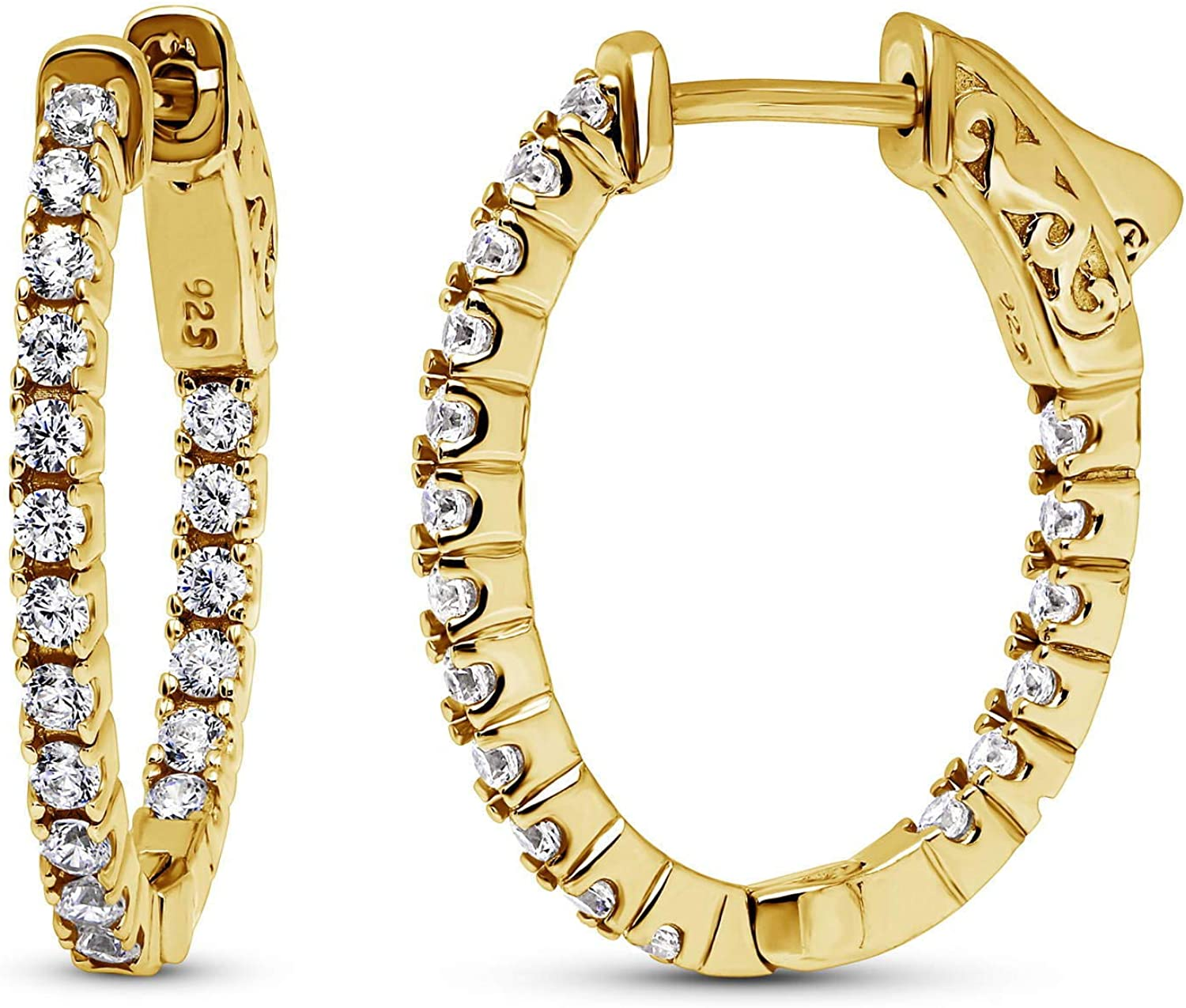 BERRICLE Yellow Gold Flashed Long Beach Mall Sterling CZ 2021 autumn and winter new Zirconia O Silver Cubic