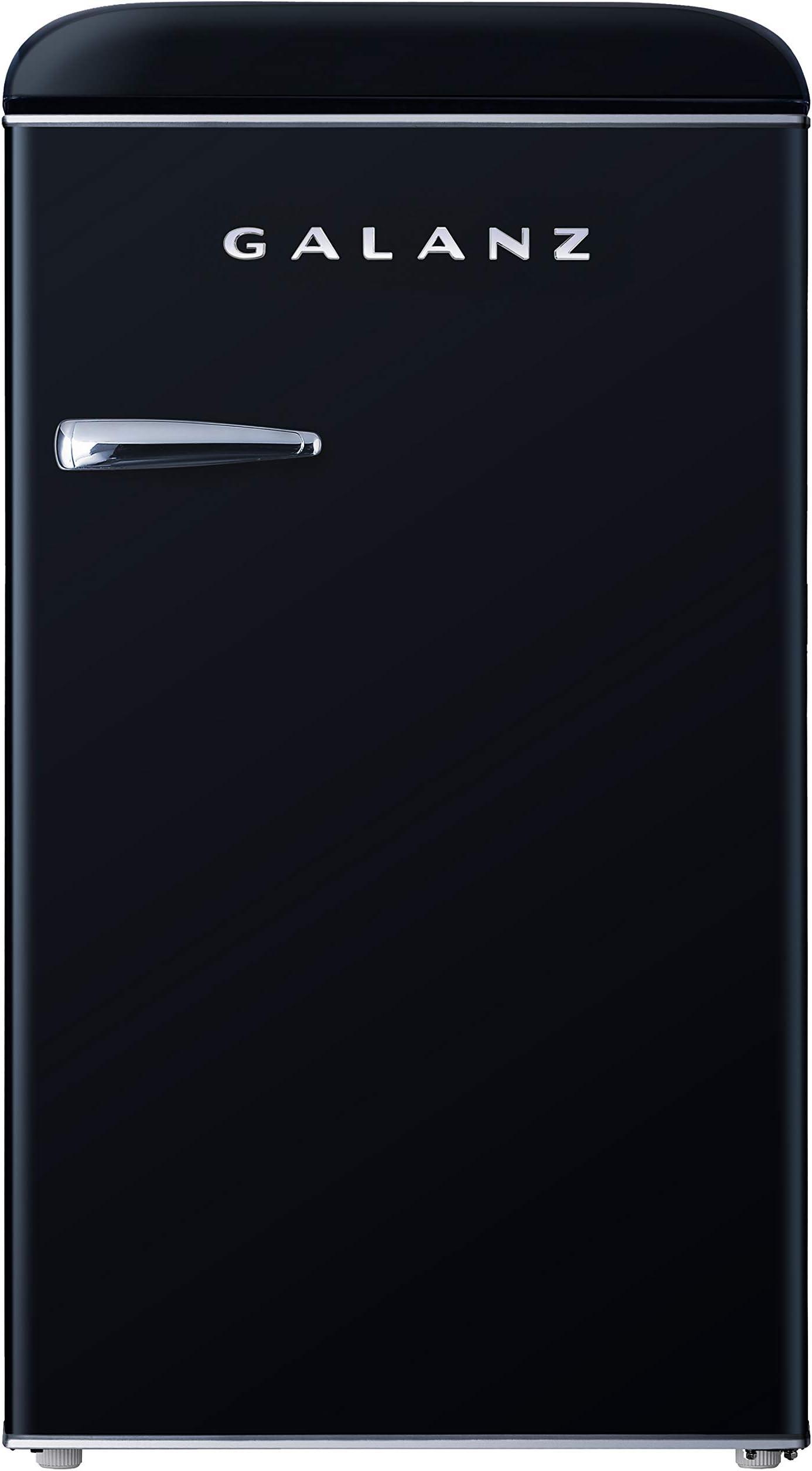 Galanz GLR35BKER Retro Compact Refrigerator, 3.5 Cu.Ft Single Door Fridge Adjustable Mechanical Thermostat with Chiller, Black, Cu Ft