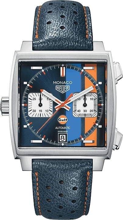 TAG Heuer Monaco Steve McQueen, orologio per uomo, automatico, in acciaio e cinturino in pelle CAW211R.FC6401