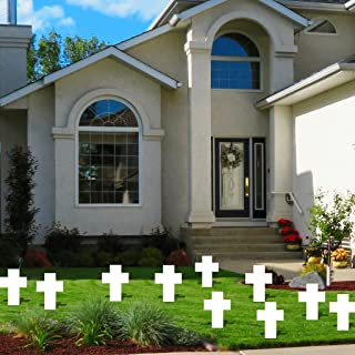 """VictoryStore Yard Sign Outdoor Lawn Decorations - White Grave Marker Cross - Set of 10 - Corrugated Plastic, 16"""" X 22"""", W/2 Small Stakes"""