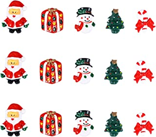 ULTNICE 15pcs Miniature Christmas Accessories Resin Snowman Santa Claus Christmas Tree Candy Cane