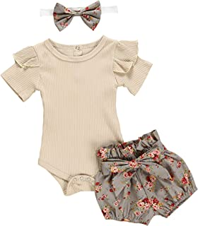 Newborn Baby Girls Clothes Floral Sleeve Romper+ Floral Short Pant 3pcs Summer Outfit