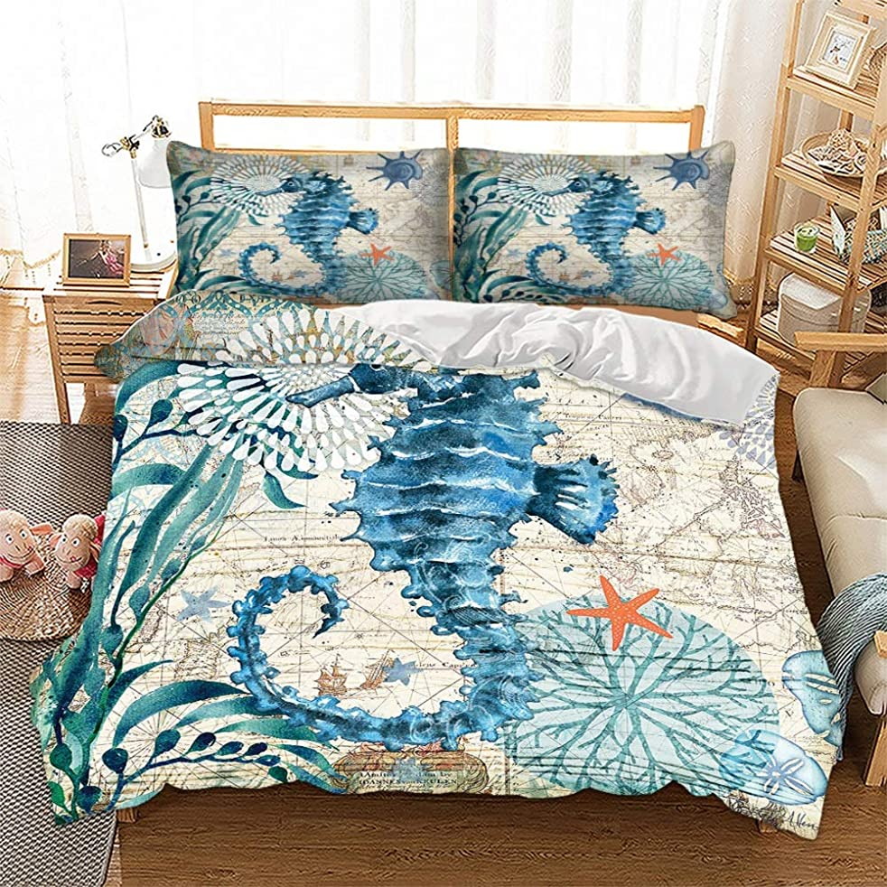 PATATINO MIO Turtle Bedding Set King 3D Printed Blue Turtle Swimming in Ocean Map of World 3 Pieces Duvet Cover Set for Kids,Boys and Girls,1 Duvet Cover 2 Pillowcase