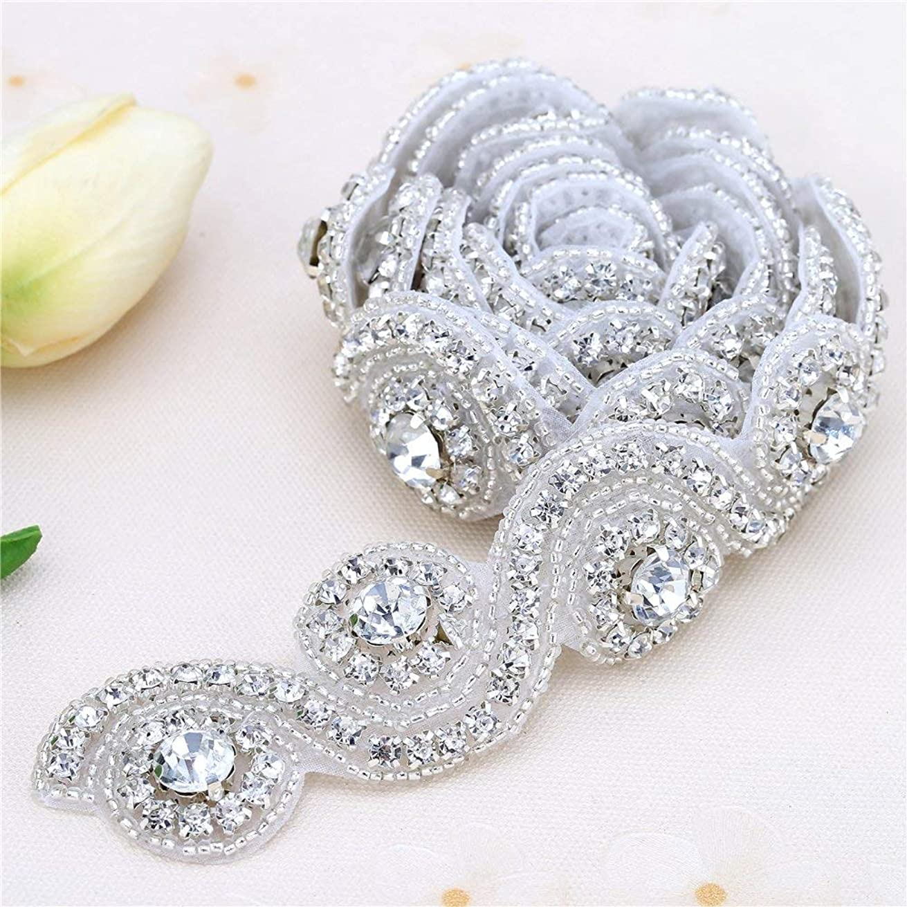 "Rhinestone crystal Applique for Wedding Dress Bride Belt and Sash by Sewing on-Silver(1.2""36"")"