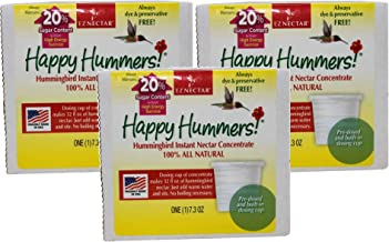 EZNectar 3 Pack of Happy Hummers, Makes 32 Fluid Ounces Each, Hummingbird Instant Nectar Concentrate, All Natural, Made in The USA