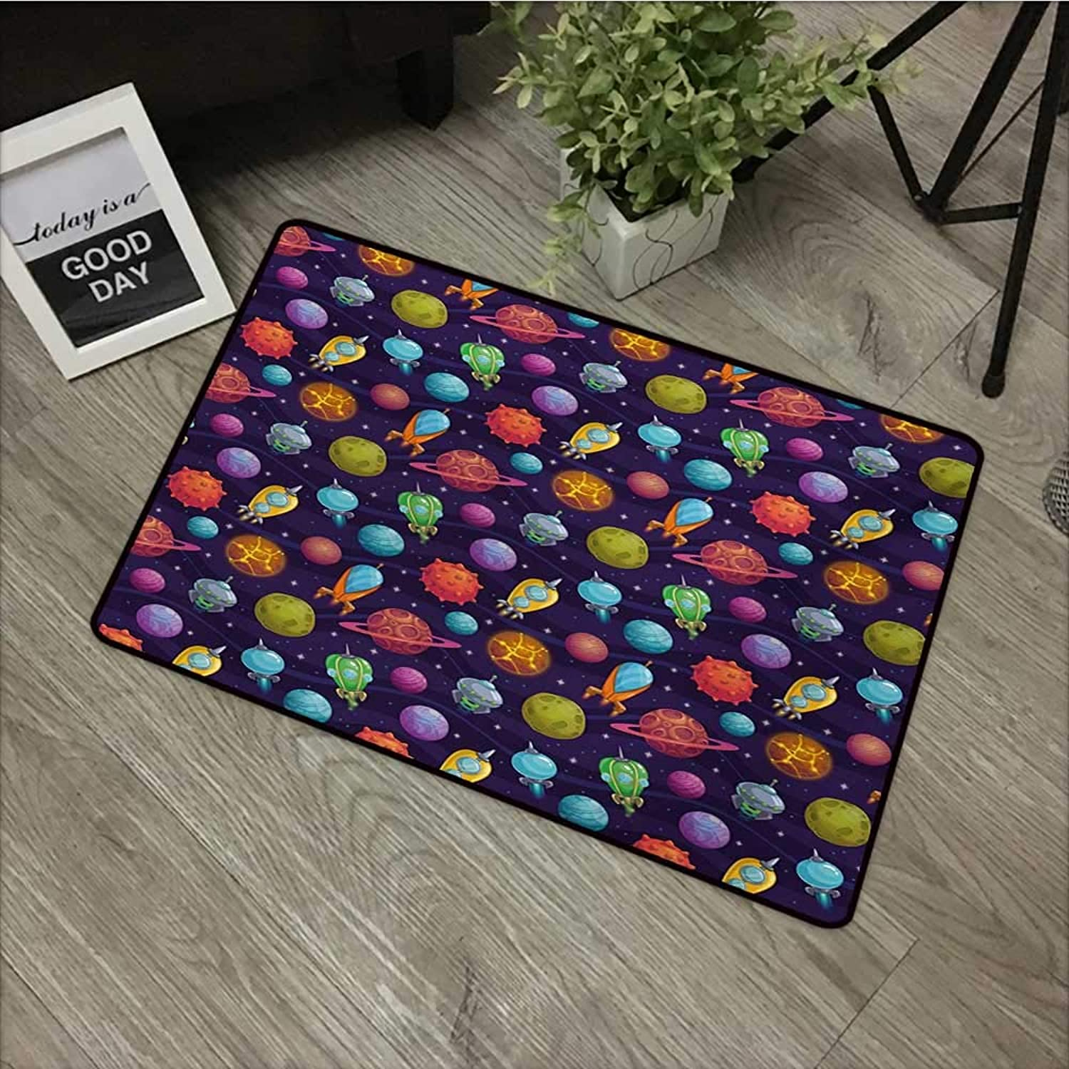 Bathroom Door mat W35 x L59 INCH Space,Cartoon Style Alien Planets with Different Environments and Spacecrafts and Stars,Multicolor Easy to Clean, no Deformation, no Fading Non-Slip Door Mat Carpet