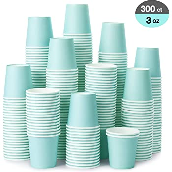[300 Pack] 3 oz Paper Cups, Sky Blue Mouthwash Cups, Disposable Bathroom Cups, Espresso Cups, Paper Cups for Party, Picnic, BBQ, Travel, and Event