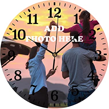 Custom Wooden Wall Clock with Photo Personalized Round Battery Operated Clocks Non Ticking Silent Deisgn Your Own Gift for Fa