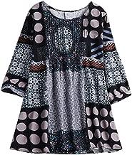 Keliay Bargain Women Boho Plus Size Loose Linen National Hippie Swing Long Tops Shirt Blouse