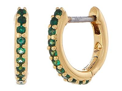 Kate Spade New York Tiny Twinkles Pave Huggies Earrings (Emerald) Earring