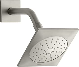 KOHLER 45215-BN Loure Single Function Wall Mount Showerhead with Katalyst Air Induction Spray, 2.0 GPM, Vibrant Brushed Ni...
