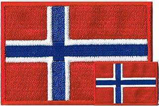 ノルウェー国旗 ワッペン エンブレム M+SS ペアセット【アイロン接着】