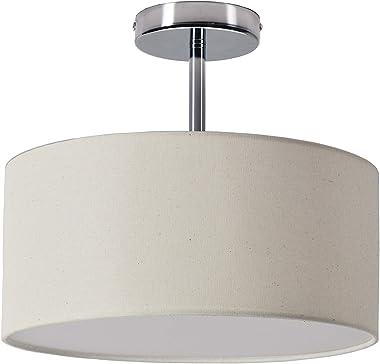 Lámpara de techo de 2 luces con pantalla de tela de lino para bar, comedor, pasillo, cocina, sala de estar, pasillo, cuarto d