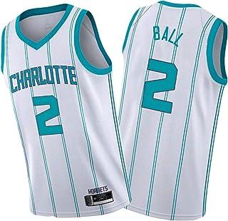 Cḥarloṭte Horneṭs LạMẹlo Ḅall 2# シャーロットホーネッツラメロボール 男子バスケットボールジャージー、スウィングマンジャージー、快適なバスケットボールのスウェットシャツのユニフォームを着ています