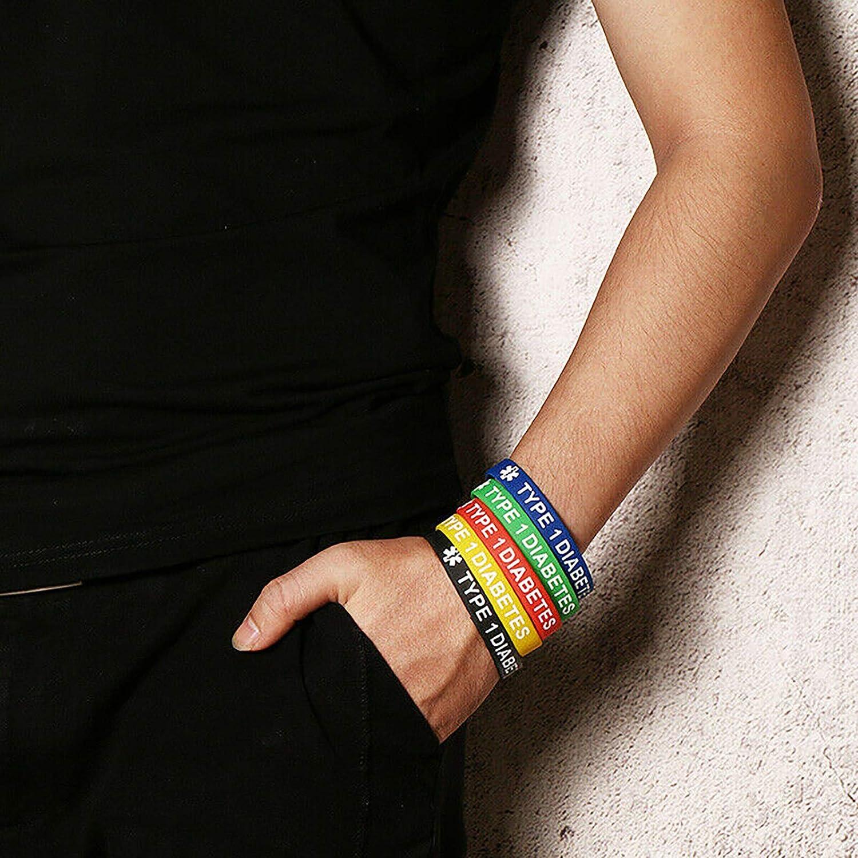 LuxglitterLin 5 Pack Sport Medical Alert ID Silicone Bracelet Rubber Medical Awareness Wristbands 7.5