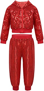 moily Kids Boys Girls Sequins Hiphop Street Dance Costume Hooded Jacket Top with Pants Modern Latin Jazz Performance Set